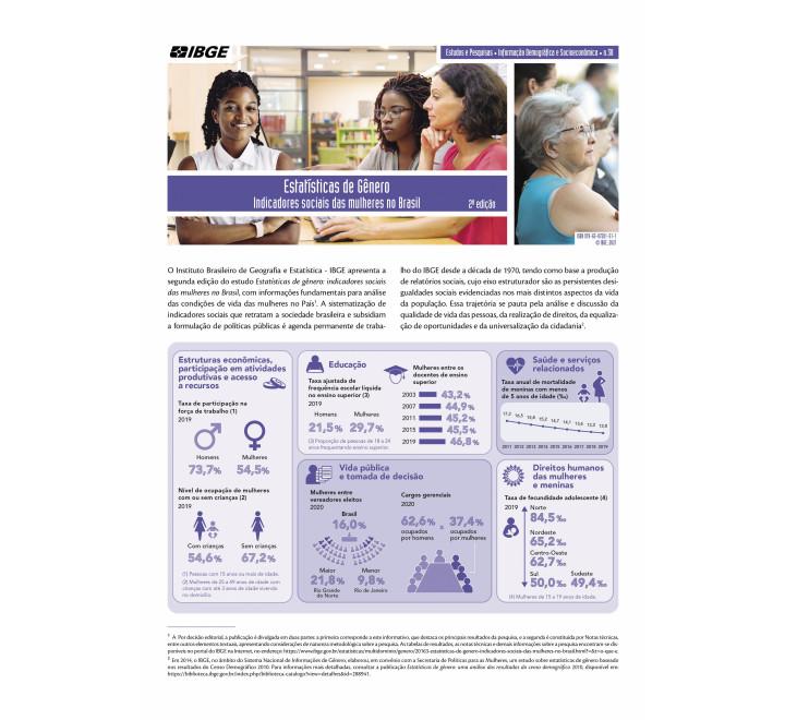 Estatísticas de Gênero - Indicadores sociais das mulheres no Brasil - 2ª edição