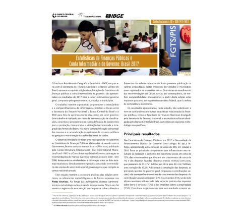 Estatísticas de Finanças Públicas e Conta Intermediária de Governo - Brasil 2017