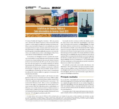 Estatísticas de Finanças Públicas e Conta Intermediária de Governo - Brasil 2019
