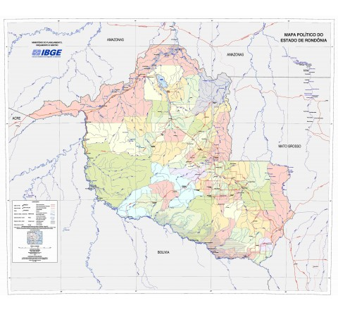 Mapas Estaduais da Amazônia Legal - Mapa Político do Estado de Rondônia